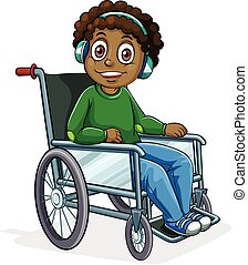 African American boy on wheelchair