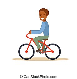 African american boy riding a bicycle