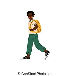 African American Boy Walking to School, Student Going to School with Backpack Vector Illustration