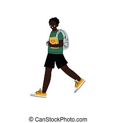 African American Boy Walking to School, Teenager Going to School with Backpack and Books Vector Illustration