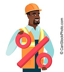 African-american builder holding percent sign.