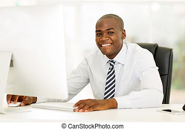african american business executive using computer