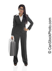 african american business female isolated on white full body