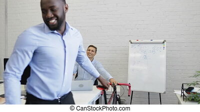 African American Business Man Enter Office After Getting To...