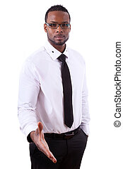 African american business man  giving  a hand - Black people