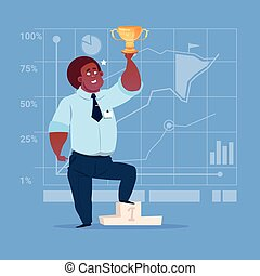 African American Business Man Hold Prize Winner Cup, Success Concept