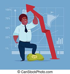 African American Business Man Hold Red Arrow Up Financial Success Concept