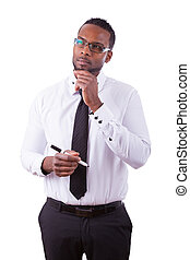African american business man holding a marker - Black people