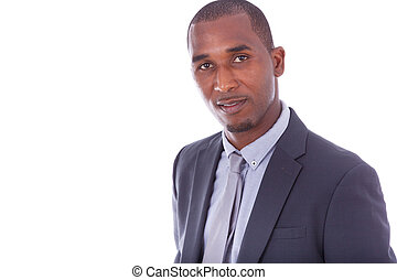 African american business man over white background - Black people