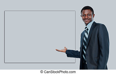 african american business man showing blank signboard, isolated over white background.