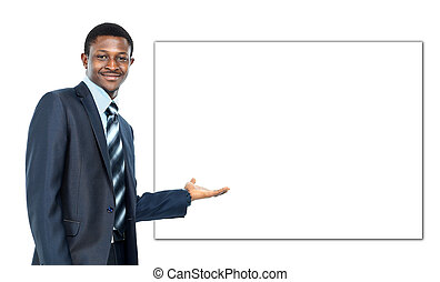 african american business man showing blank signboard, isolated over white background