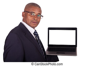 African American business man with a laptop