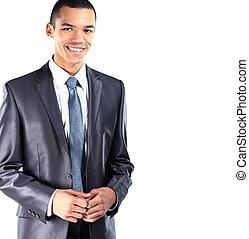 African American business man with folded arms, isolated on white background