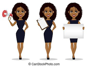 African Black Business Woman Character Vector Working