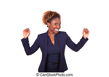 African American business woman celebrating