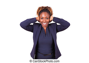 African American business woman hiding her hears with her hands