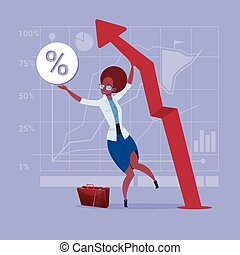 African American Business Woman Hold Red Arrow Up Financial Success Concept