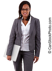African american business woman holding a laptop