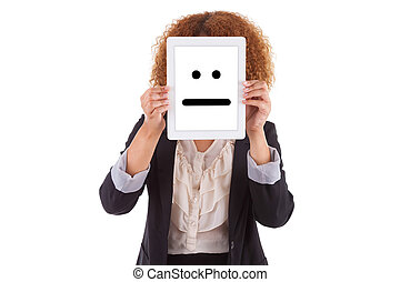 African American business woman holding a tactile tablet displaying an indifferent emoticon, isolated on white background - Black people