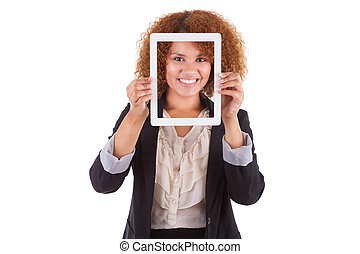 African American business woman holding a tactile tablet, isolated on white background - Black people