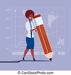 African American Business Woman Holding Big Pencil Writing Office Worker
