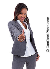 African american business woman making thumbs up gesture - Black