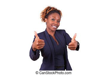 African American business woman making thumbs up gesture - Black people