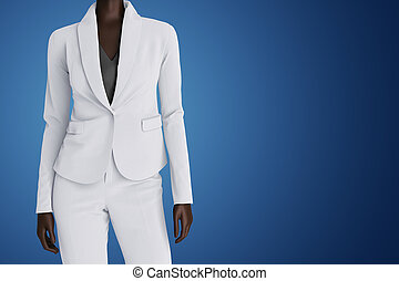African american business woman on blue background