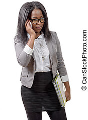 african american business woman, on phone