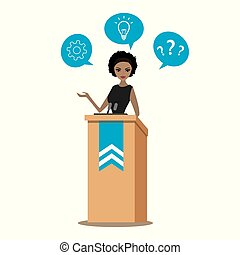 African american business woman or politician speaking to audience from tribune