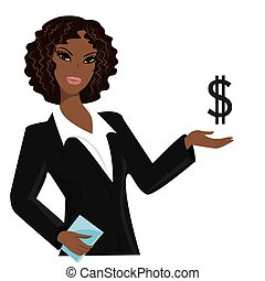 african american business woman pointing to business trends, cartoon vector illustration