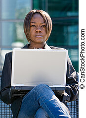 African american business woman with computer