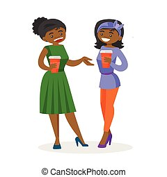 African-american business women drinking coffee.