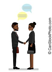 African american Businessman and businesswoman shake hands