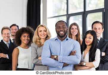 African American Businessman Boss With Group Of Business People In Creative Office, Successful Mix Race Man Leading Businesspeople Team Stand Folded Hands, Professional Staff