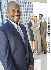 African American Businessman & Business Team