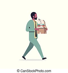 african american businessman carrying paper box stack of documents overloaded business man office worker going male cartoon character full length flat isolated