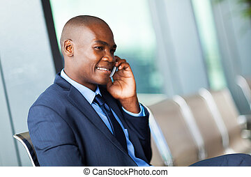 african American businessman cell phone