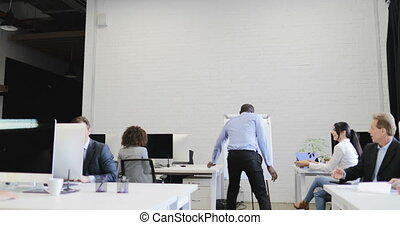African American Businessman Dancing And Singing In Modern Coworking Space While Business People Group Watching And Clapping Hands