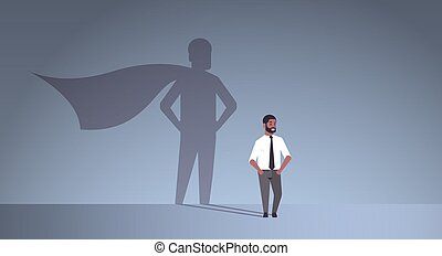 african american businessman dreaming about being super hero shadow of man with cape imagination aspiration concept male cartoon character standing pose full length flat horizontal