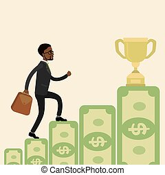African american Businessman goes up the stairs of money to the prize