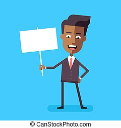African american businessman holding banner Vector