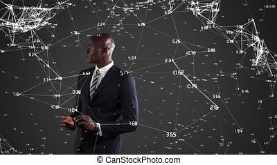 African American businessman inspecting curves - Animation ...