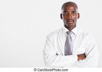 african american businessman over white studio portrait