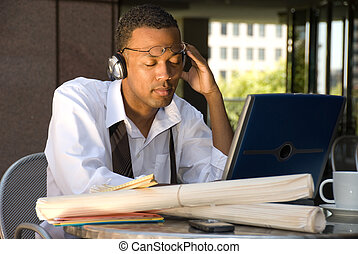 African American Businessman relaxing