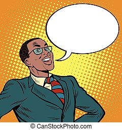 African American businessman says the comic bubble