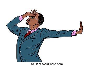 African American businessman. shame denial gesture no. Pop ...