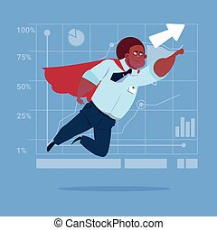 African American Businessman Super Hero Fly Up Financial Graph Arrow