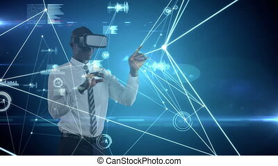 Animation of African American man wearing VR headset over a web of connections with statistics and graphs. Global economy and technology concept digital composite