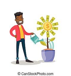 African-american businessman watering money flower